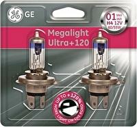 Лампа H4 12V- 60/55W (P43t) (+120% света) Megalight Ultra +120 (к.уп.2шт.) GE