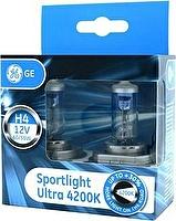 Лампа H4 12V- 60/55W (P43t) (белый яркий свет-голуб.оттен.) Sportlight Ultra (к.уп.2шт.) GE
