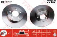 TRW DF2757 Диск тормозной задний MB W202 W203 W124 W210 R170 R171 278x9mm (2104230412)